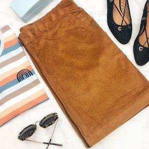 Chestnut Brown Corduroy Zip Front Mini Skirt